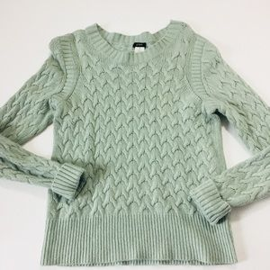 J crew sea foam green cable knit sweater m